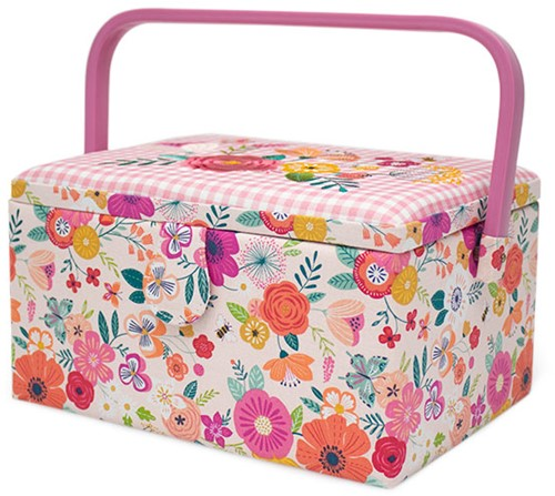 Sewing Basket Medium Floral Garden Pink