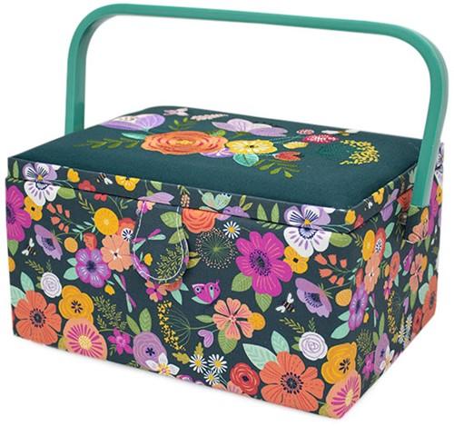 Sewing Basket Medium Floral Garden Teal