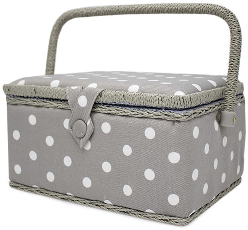 Sewing Basket Medium Grey Spot