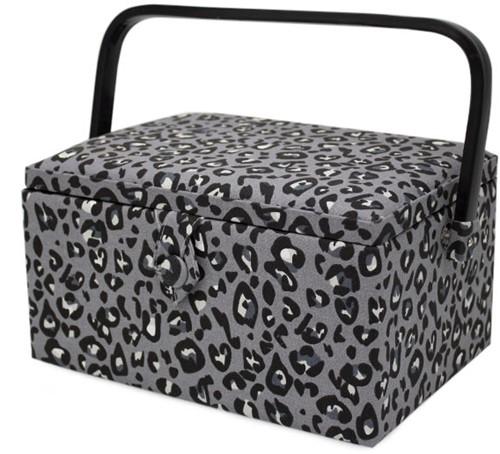 Sewing Basket Medium Leopard Grey