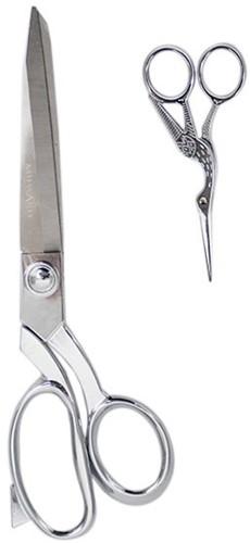 Milward Set Fabric Scissors (25,cm) & Embroidery Scissors (11.5cm) Silver