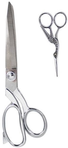 Milward Set Fabric Scissors (25cm) & Embroidery Scissors (11.5cm) Silver