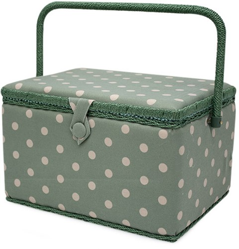 Sewing Basket Moss Polka Dot