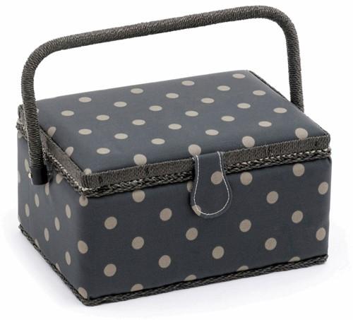 Sewing Basket Medium Charcoal Spot