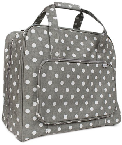 Sewing machine Bag Gray Linen Polka Dot