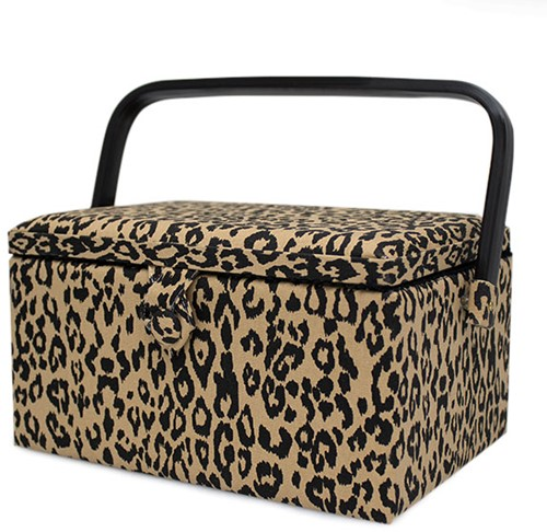 Sewing Basket Medium Leopard