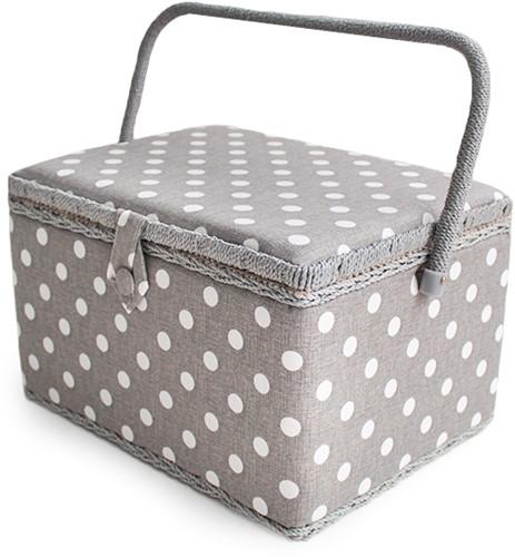 Sewing Box Grey Linen Polka Dot Large
