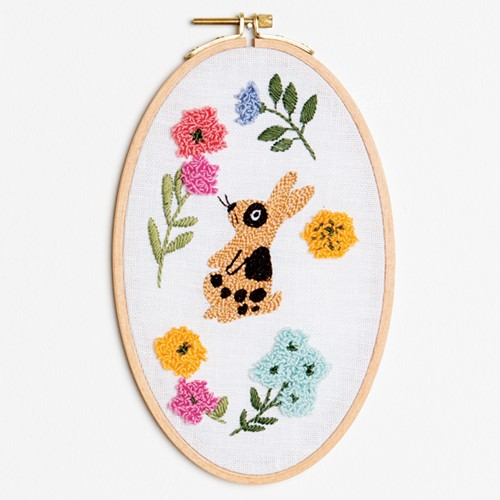Bunny Wall-Hanging Oval Punch Needle Kit