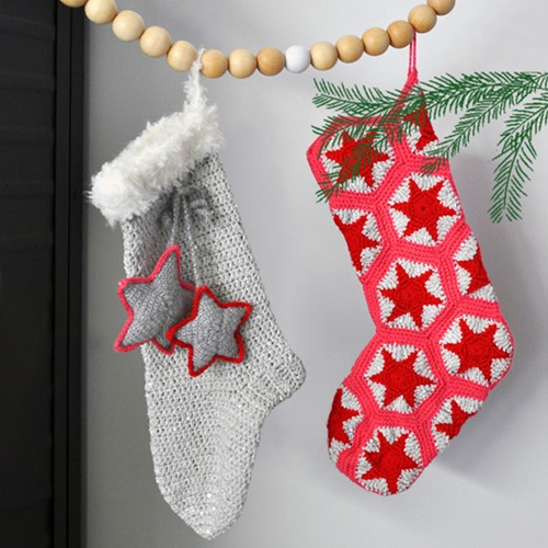 Crochet Pattern Paillette Christmas Stocking