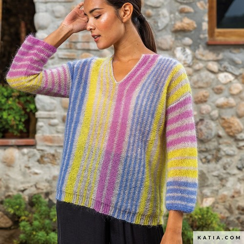 Knitting Pattern Mohair Shades Vertical Striped Sweater