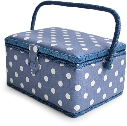 Sewing Box Denim Polka Dot Medium
