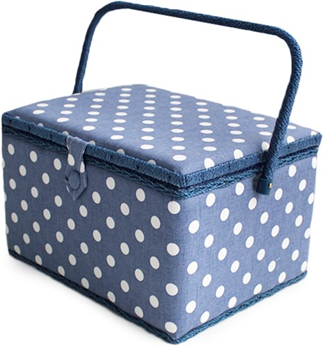 Sewing Box Denim Polka Dot Large