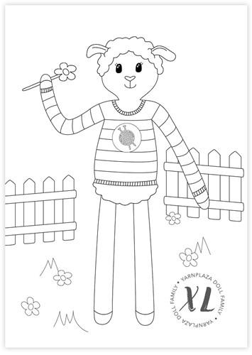 Coloring Page Yarnplaza XL Doll – Sheep Sara