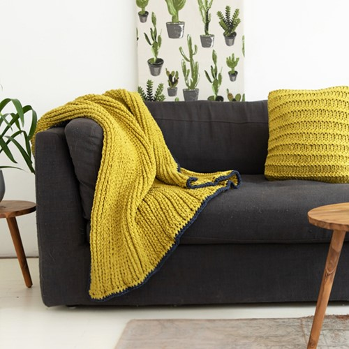 Crochet Pattern RibbonXL Tunesian Textured Stripes Blanket and Cushion
