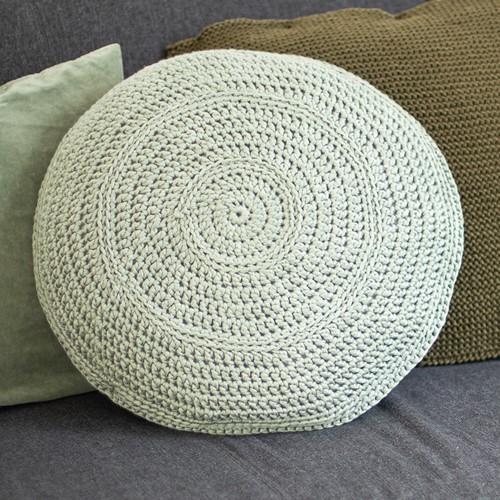 Acrylic Ribbon Round Cushion Crochet Kit 1 Misty green