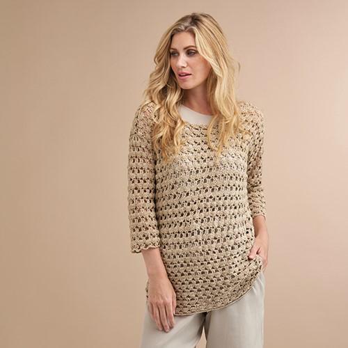 Soft Linen Mix Malou Summer Sweater Crochet Kit 32/34
