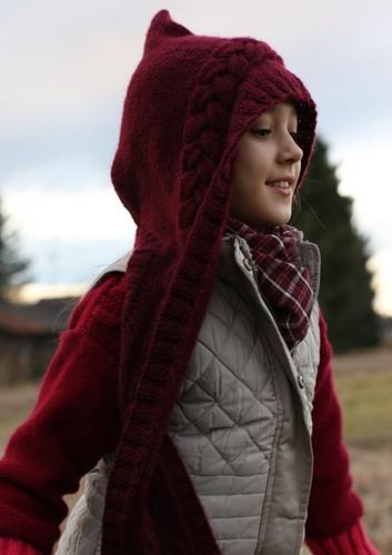 Knitting Pattern Bravo Hooded Scarf