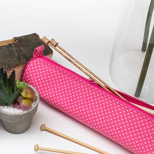 Yarnplaza Knitting Needle Case Pink Polka Dot