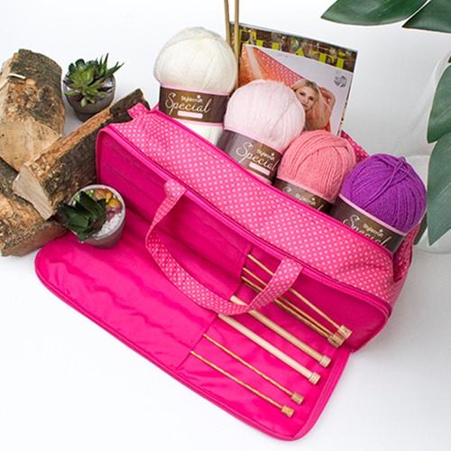 Yarnplaza Knitting Bag Pink Polka Dot