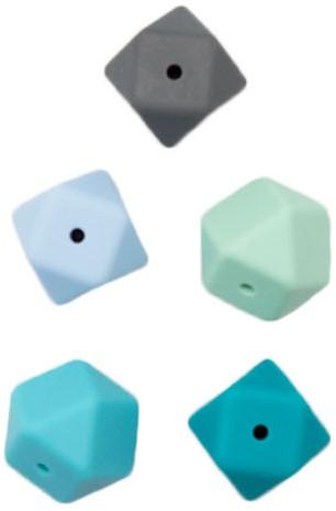 Durable Siliconen Hexagon Beads 5 pieces Blauw