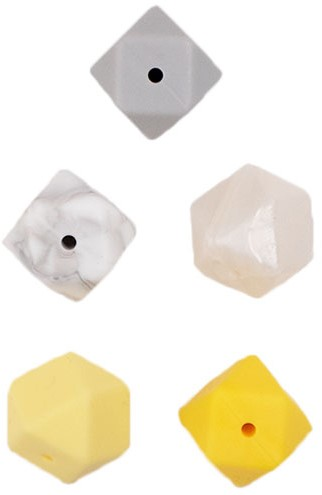Durable Silicone Hexagon Beads 5 pieces Yellow