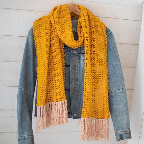 Organic Cotton Scarf Crochet Kit 1 Cosy yellow
