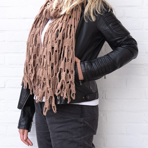 Yarn and Colors Slouchy Stripes Shawl Crochet Kit 006 Taupe