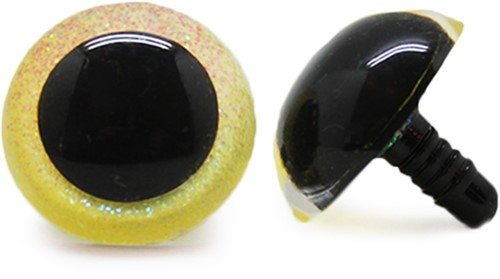Plastic Safety Eyes Sparkle Yellow (per pair) 24mm