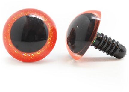 Plastic Safety Eyes Sparkle 003 Orange 14mm