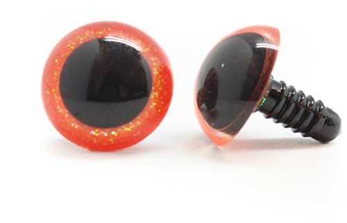 Plastic safety eyes sparkle 003 Orange 15mm