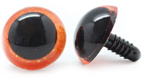 Plastic Safety Eyes Sparkle Orange (per pair) 24mm