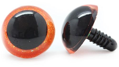 Plastic Safety Eyes Sparkle Orange (per pair) 30mm