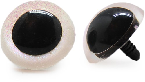 Plastic Safety Eyes Sparkle 006 White 30mm