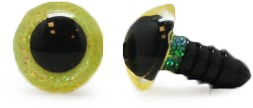 Plastic Safety Eyes Sparkle Yellow (per pair) 8mm