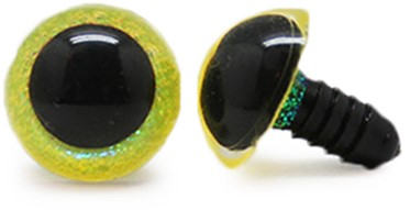 Plastic Safety Eyes Sparkle Yellow (per pair) 14mm