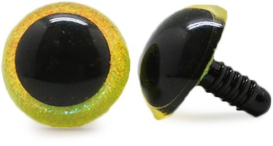 Plastic Safety Eyes Sparkle Yellow (per pair) 15mm