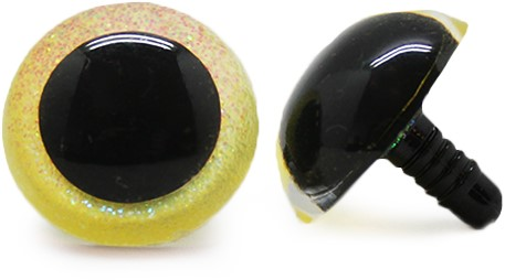 Plastic Safety Eyes Sparkle Yellow (per pair) 21mm