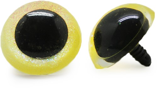 Plastic Safety Eyes Sparkle Yellow (per pair) 30mm