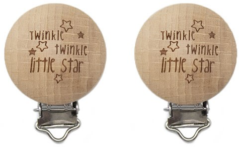 Durable Wooden Pacifier clips 2 pieces 61 Twinkle Twinkle Little Star