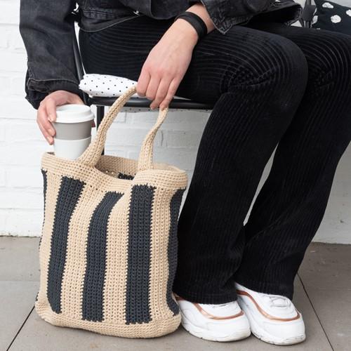 Yarn and Colors Striped Tote Bag Crochet Kit 009 Limestone