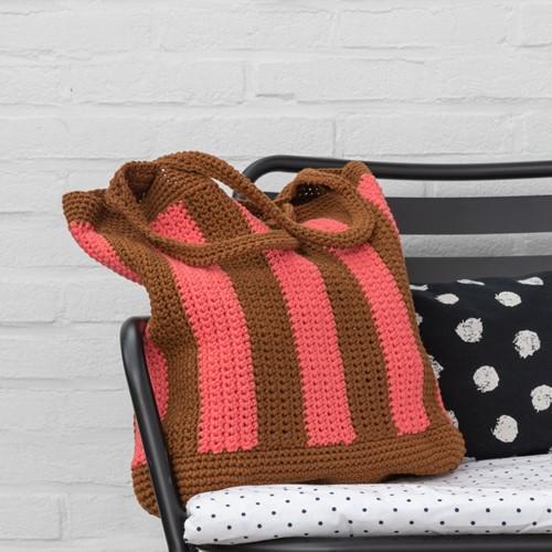 Yarn and Colors Striped Tote Bag Crochet Kit 026 Satay