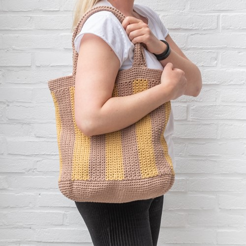 Yarn and Colors Striped Tote Bag Crochet Kit 006 Taupe