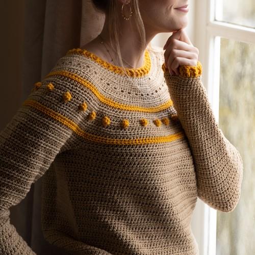 Yarn and Colors Sunrise Sweater Crochet Kit 1 Limestone M