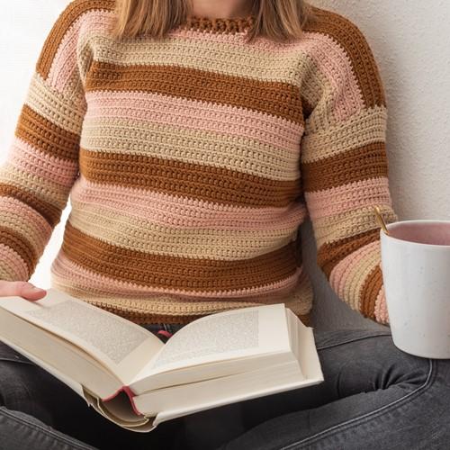 Yarn and Colors Sunset Stripes Sweater Crochet Kit 2 Satay L