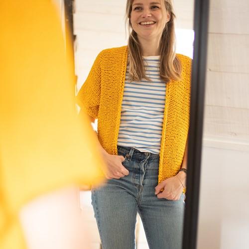 Cotton Tube Ladies Cardigan Knitting Kit 1 Cosy yellow XS/S