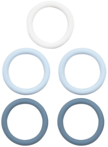 Silicone Rings 5 Pieces 01 Blue Mix