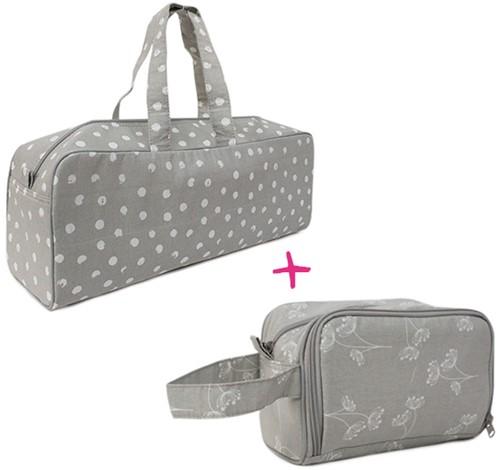 Yarnplaza Knitting Bag and Crochet Pouch Set 3 Grey Dots/Grey Flowers