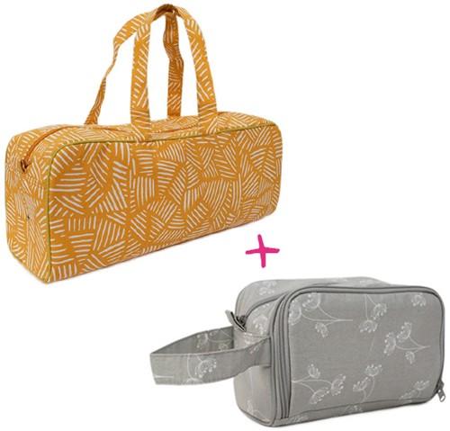 Yarnplaza Knitting Bag and Crochet Pouch Set 5 Mustard Stripes/Grey Flowers