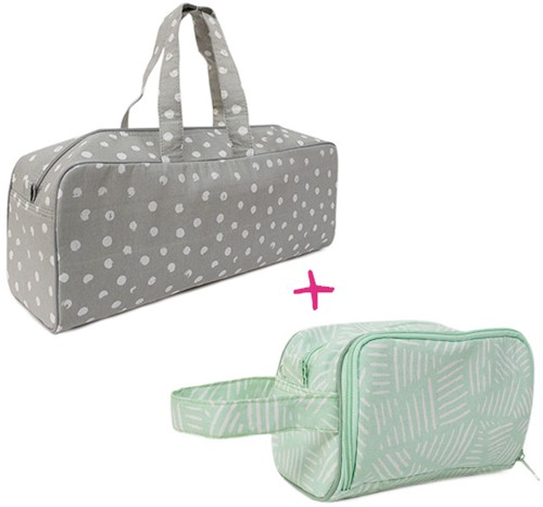 Yarnplaza Knitting Bag and Crochet Pouch Set 9 Grey Dots/Mint Stripes