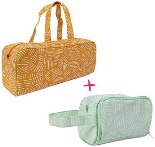 Yarnplaza Knitting Bag and Crochet Pouch Set 4 Mustard Stripes/Mint Stripes